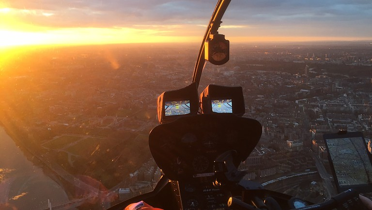 Evening sunset from helicopter