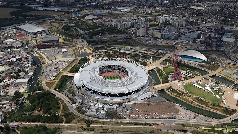Aerial still of UK Olympic Park
