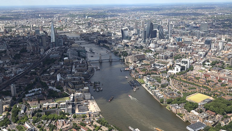 Aerial of central London and the Thames